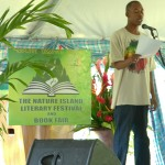 Delroy poetry reading at literary festival and book fair